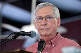 Senate Majority Leader Mitch McConnell, R-Ky., addresses the audience gathered at the Fancy Farm Picnic in Fancy Farm, Ky., Aug. 3, 2019.