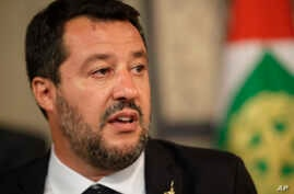 The League party leader Matteo Salvini talks to the press after meeting Italian President Sergio Mattarella, in Rome, Aug. 22, 2019.