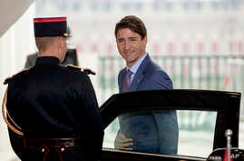 Canadian Prime Minister Justin Trudeau arrives at the G-7 summit in Biarritz, France, Aug. 25, 2019.