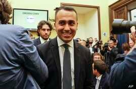 Leader of the 5-Star Movement, Luigi Di Maio, smiles as he meets the media in Rome, Sept. 3, 2019.