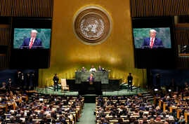 U.S. President Donald Trump addresses the 74th session of the United Nations General Assembly, Tuesday, Sept. 24, 2019.