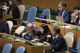 Members of Venezuela's delegation attend the United Nations General Assembly at United Nations headquarters, Sept. 26, 2019, in New York.