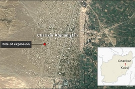 Map of Charikar. Afghanistan, showing the site of the explosion on Sept. 17, 2019