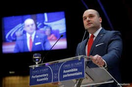 FILE - Georgian Prime Minister Mamuka Bakhtadze addresses the Parliamentary Assembly of the Council of Europe in Strasbourg, France, April 10, 2019.