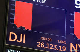 The Dow Jones Industrial Average is displayed on the trading floor at the New York Stock Exchange in New York City, Sept. 3, 2019.