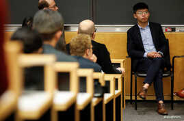 Hong Kong's pro-democracy activist Joshua Wong attends a panel discussion on Anti-Extradition Law Movement in Hong Kong at Columbia University Law School in New York City, Sept. 13, 2019.