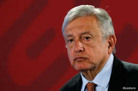 Mexico's President Andres Manuel Lopez Obrador attends a news conference at the National Palace in Mexico City, Aug. 30, 2019.