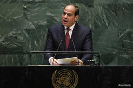 Egypt's President Abdel Fattah el-Sissi addresses the 74th session of the United Nations General Assembly at U.N. headquarters in New York City, New York, Sept. 24, 2019.
