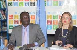U.N. Special Rapporteur Clement Voule, left, addresses reporters in Harare, Sept. 27, 2019. (C. Mavhunga/VOA)