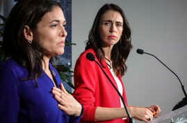 New Zealand Prime Minister Jacinda Ardern, right, and Facebook COO Sheryl Sandberg, left, hold a news conference, outlining an anti-terror initiative between governments and technology companies called GIFCT, in New York, Sept. 23, 2019.