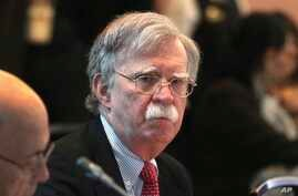 U.S. National Security Adviser John Bolton, attends a conference of more than 50 nations that largely support Venezuelan opposition leader Juan Guaido in Lima, Peru, Aug. 6, 2019.