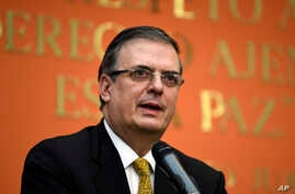 Mexican ​Foreign Minister Marcelo Ebrard speaks during a news conference at the Embassy of Mexico in Washington, Sept. 10, 2019.