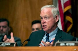 Republican Senator Ron Johnson questions witnesses during a hearing on Capitol Hill in Washington, July 16, 2019.