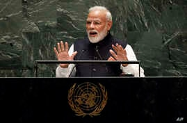 India's Prime Minister Narendra Modi addresses the 74th session of the United Nations General Assembly, in New York, Sept. 27, 2019.