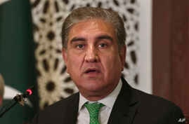 Pakistani Foreign Minister Shah Mahmood Qureshi speaks during a press conference in Islamabad, Aug. 17, 2019.