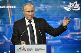 Russian President Vladimir Putin speaks at the Eastern Economic Forum in Vladivostok, Russia, Sept. 5, 2019.