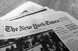 An early edition of the New York Times newspaper is seen on a table at VOA newsroom in Washington, Sept. 24, 2019. (photo: Diaa Bekheet)