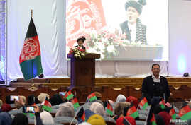 Current Afghan president and presidential candidate Ashraf Ghani speaks during an election campaign rally in Kabul, Afghanistan, Sept. 13, 2019.