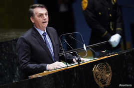 Brazil's President Jair Bolsonaro addresses the 74th session of the United Nations General Assembly at U.N. headquarters in New York City, New York, Sept. 24, 2019.