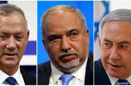 A combination picture shows leader of Blue and White party, Benny Gantz in Rosh Ha'ayin, Israel, Avigdor Lieberman, head of Yisrael Beitenu party in Tel Aviv, Israeli PM Benjamin Netanyahu in the Jordan Valley, in the Israeli-occupied West Bank.