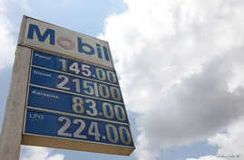 The prices of petrol, diesel, kerosene and LPG are displayed in Naira outside a gas station in Lagos, Nigeria, Sept. 9, 2019.