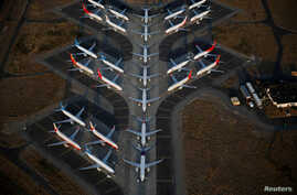 An aerial photo shows Boeing 737 MAX aircraft at Boeing facilities at the Grant County International Airport in Moses Lake, Washington, Sept. 16, 2019.