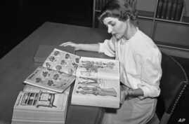 FILE - In an undated file photo, Ruth Parrington, librarian in the art department of the Chicago Public Library, studies early Sears Roebuck catalogs in the library's collection in Chicago.