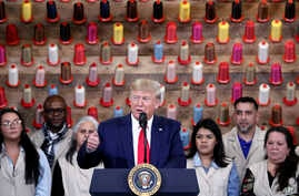 President Donald Trump speaks during a ribbon cutting ceremony at the Louis Vuitton Workshop Rochambeau in Alvarado, Texas,…