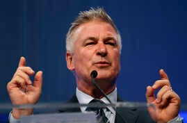 FILE - In this Monday, Nov. 27, 2017, file photo, actor Alec Baldwin speaks during the Iowa Democratic Party's fall gala, in…