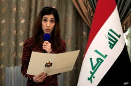 FILE - In this Dec. 12, 2018, file photo, Nobel Peace Prize recipient Nadia Murad speaks during a meeting with Iraqi President…