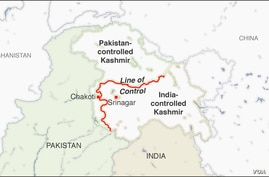 Map of the Line of Control, Kashmir