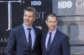 """David Benioff and D.B. Weiss arrive for the premiere of the final season of """"Game of Thrones"""" at Radio City Music Hall in New…"""