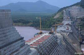 FILE - Ethiopia's Grand Renaissance Dam is seen as it undergoes construction work on the river Nile in Guba Woreda, Benishangul Gumuz Region, Ethiopia, Sept. 26, 2019.