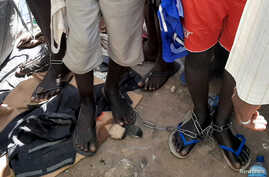 People with chained legs are pictured after being rescued by police in Sabon Garin, in Daura local government area of Katsina…