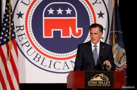 Former U.S. presidential candidate Mitt Romney speaks at the Utah County Republican Party Lincoln Day Dinner, in Provo, Utah, U…