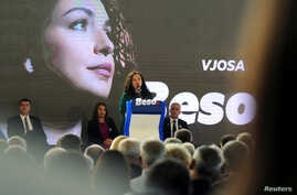 Vjosa Osmani, leader of the Democratic League of Kosovo (LDK), speaks at a campaign rally in Suhareka, Kosovo, Sept. 27, 2019.