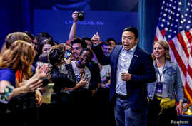 U.S. Democratic presidential candidate and businessman Andrew Yang leaves a forum held by gun safety organizations the Giffords…