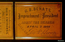 A Senate Gallery pass from the impeachment trial of President Andrew Johnson in 1868
