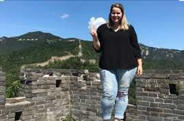 Alyssa Petersen is seen in China in this undated photo from her family's GoFundMe page.
