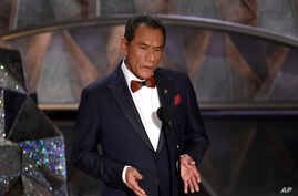Wes Studi introduces a tribute to films that honor service in the military at the Oscars, March 4, 2018, at the Dolby Theatre in Los Angeles.