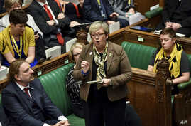 Lawmaker of SNP (Scottish National Party) Joanna Cherry speaks during the Brexit debate inside the House of Commons parliament in London, Oct. 19, 2019.