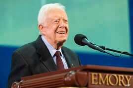 FILE - Former President Jimmy Carter is seen during the annual Carter Town Hall held at Emory University, in Atlanta, Georgia, Sept. 18, 2019.
