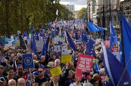 "Brexit opponents take part in a ""People's Vote"" protest march calling for another referendum on Britain's EU membership, in London, Oct. 19, 2019."