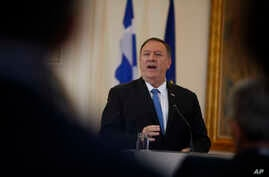 U.S. Secretary of State Mike Pompeo talks during a joint news conference with Greek Foreign Minister Nikos Dendias (not pictured), following their meeting in Athens, Greece, Oct. 5, 2019.