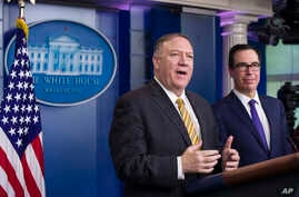 FILE - U.S. Secretary of State Mike Pompeo and Treasury Secretary Steve Mnuchin speak during a briefing at the White House, in Washington, Sept. 10, 2019.