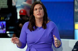 "FILE - Fox News contributor and former White House spokesperson Sarah Sanders makes her first appearance on the ""Fox & Friends"" television program in New York, Sept. 6, 2019."