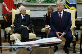 President Donald Trump speaks during a meeting with Italian President Sergio Mattarella in the Oval Office of the White House, Oct. 16, 2019, in Washington.