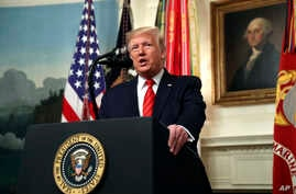 President Donald Trump speaks in the Diplomatic Room of the White House in Washington, Oct. 27, 2019.