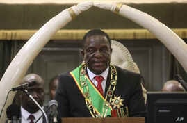 FILE - Zimbabwean President Emmerson Mnangagwa delivers his State of the nation address at the opening session of parliament in Harare, Oct. 1, 2019.