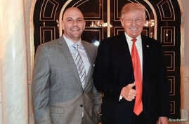 FILE - U.S. businessman David Correia appears to pose with President Donald Trump in an undated screen capture from Correia's Facebook account made by investigators and provided to Reuters, Oct. 10, 2019.